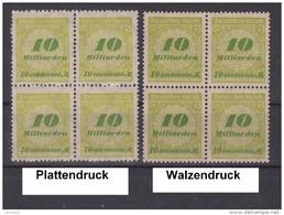 MiNr. 328 ** Viererblöcke Platten- Und Walzendruck  (0355)