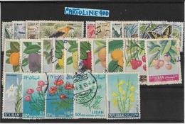 Francobolli Francobollo World Stamps Stamp Libano Number Numero 24 Pezzi Tematica Fiori Frutta Uccelli - Libano