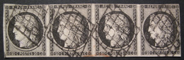 LOT R1631/1320 - CERES (BANDE DE 4) N°3 - GRILLE NOIRE - Cote : 900,00 € - 1849-1850 Ceres
