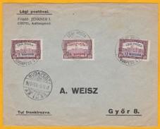1921 - Enveloppe Par Avion De  Budapest Vers Gyor, Hongrie - 3 T. Surchargés 3, 8 Et 12 K - Cad Arrivée