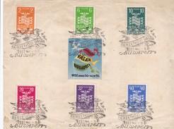 1937 - Document Commémoratif Foire De  Budapest, Hongrie - Série De 6 Timbres + Vignette Concordante