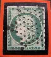 LOT R1592/6 - CERES N°2b Vert Foncé - SUPERBE OBLITERATION ETOILE MUETTE DE PARIS - Cote : 1200,00 € - 1849-1850 Ceres