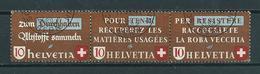1942 Switzerland Complete Set/strip Recycling Used/gebruikt/oblitere