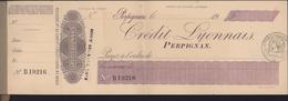 France Ancien Chéquier Du Crédit Lyonnais De Perpignan X10 Avec Papier De Renouvellement Complet Chèque LCL - Chèques & Chèques De Voyage