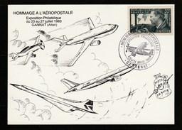 Allier - Hommage à L'Aéropostale - Gannat - 23 Et 24 Juillet 1983 - Timbre Mermoz - Commemorative Postmarks