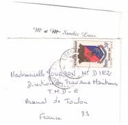 MADAGASCAR, Petite Lettre Avec Carte De Visite Obl De DIEGO SUAREZ Sur Blason Nossi Bé 30 F , Yvert N° 439 > Toulon,1969