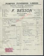 FACTURE DE 1941 F. BESSON POMPES FUNÈBRES LIBRES À CONDRIEU : - Petits Métiers