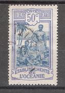 OCEANIE 1922, Yvert N° 54, Tahitiens, 50 C Outremer / Bleu Obl, TB - Usados