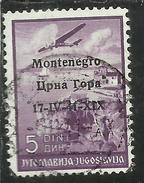 MONTENEGRO 1941 POSTA AEREA AIR MAIL SOPRASTAMPATO OVERPRINTED 5 D USATO USED OBLITERE' - 9. Ocupación 2ª  Guerra (Italia)