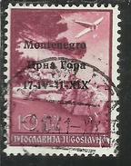 MONTENEGRO 1941 POSTA AEREA AIR MAIL SOPRASTAMPATO OVERPRINTED 10 D USATO USED OBLITERE' - 9. Ocupación 2ª  Guerra (Italia)
