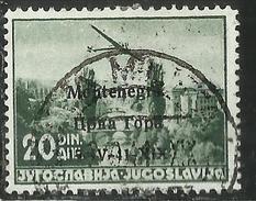 MONTENEGRO 1941 POSTA AEREA AIR MAIL SOPRASTAMPATO OVERPRINTED 20 D USATO USED OBLITERE' - 9. Ocupación 2ª  Guerra (Italia)