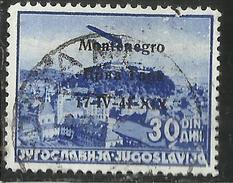 MONTENEGRO 1941 POSTA AEREA AIR MAIL SOPRASTAMPATO OVERPRINTED 30 D USATO USED OBLITERE' - 9. Ocupación 2ª  Guerra (Italia)