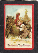 Cute Young Thanksgiving Boy Hugging A Turley 1911 - Frances Brundage Signed Antique Postcard - Illustrators & Photographers