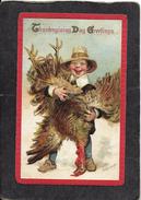 Cute Young Thanksgiving Boy Holding Turkey Upside Down 1913 - Frances Brundage Signed Antique Postcard - Illustrators & Photographers