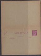 FRANCE -ENTIERS POSTAUX-CARTE POSTALE SUR 40c LILAS TYPE PAIX  N° 281