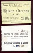 Orvieto / Orviete - 2 Tickets (1962). - Biglietti D'ingresso