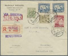 China: 1914/1944, Japanese P.O./ Japanese Occ./Manchuko, Lot Of Nine Better Covers (single Lots), E.g. Telegram Envelope