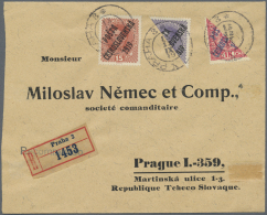 Tschechoslowakei: 1918/1919, Assortment Of Nine (philatelically Inspired) Bisects, Three Covers And Three Pieces, Also O