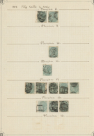 Großbritannien: 1873/1876, 1s. Green, Wm Spray Of Rose (SG 150), Specialised Assortment Of Twelve Stamps.