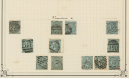 Großbritannien: 1865, 1s. Green, Wm Emblems (SG 101), Specialised Assortment Of Twelve Stamps.