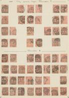 Großbritannien: 1865, 4d. Vermilion, Wm Large Garter (SG 93/94), Specialised Assortment Of 88 Stamps.