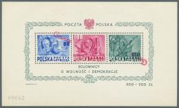 Polen: 1950, Groszy-Aufdruck Auf Verfassungs-Block (MiNr. Bl. A 11), Postfrisch (linke Marke Verschobener Aufdruck, Mitt