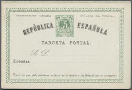 Spanien - Ganzsachen: 1873/1891, Posten Von 925 Ganzsachenkarten, Gebraucht Und/oder Ungebraucht, Dabei Auch Bessere St&