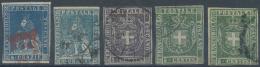 Italien - Altitalienische Staaten: Toscana: 1851/1860, Lot Of 38 Used Stamps Showing A Good Diversity Of Postmarks, Vari