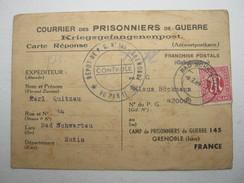 1946 , Kriegsgefangenenkarte Mit 15 Pfg. AM - Post , Camp Grenoble, Marke  NICHT PERFEKT ; ABER SEHR SELTEN