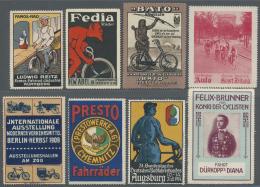 Thematik: Fahrrad / Bicycle: 1898 Ab Ca., REKLAME-MARKEN, ETIKETTEN, SAMMELBILDER Rund Um Das Thema Fahrrad, Umfangreich
