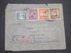 CHILI - Enveloppe En Recommandé De Santiago Pour La France En 1940 Par Avion , Affranchissement Plaisant - L 7892 - Chile
