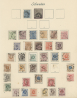 Schweden: 1855/1932, Used And Mint Collection On Ancient Album Pages, From 1855 4sk. And 6sk. Used, Following Issues, 19