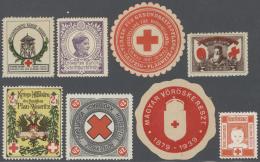 Thematik: Rotes Kreuz / Red Cross: 1914/1995 (ca.), Umfangreicher Bestand An Rotes Kreuz-Vignetten Mit Sicherlich Einige