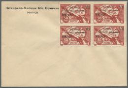 "Vietnam: 1945/1946, Group Of 53 Unused Envelopes Of ""STANDARD VACUUM OIL COMPANY HANOI"", Each Franked With Blocks Of Fou"