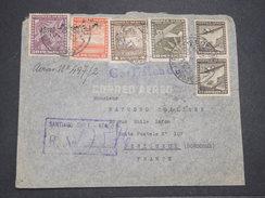 CHILI - Enveloppe En Recommandé De Santiago Pour La France En 1940 Par Avion , Affranchissement Plaisant - L 7895