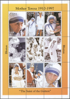 Bhutan: 1998, Mother Teresa (Michel Nos. 1785/93), U/m Accumulation Of 4.000 Se-tenant Sheets Of Nine Stamps Each (Mothe