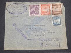 CHILI - Enveloppe En Recommandé De Santiago Pour La France En 1940 Par Avion , Affranchissement Plaisant - L 7897