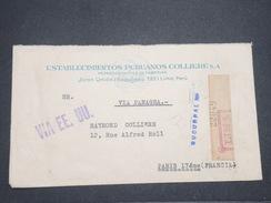 PEROU - Enveloppe En Recommandé De Lima Pour La France Par Avion En 1937 , Affranchissement Plaisant Au Verso - L 7903 - Pérou