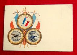 Cpa Brodée, Tissé Soie  Guerre 1914-1918 Drapeau Oiseau De France Canon 75 - Brodées