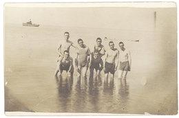Cpa Carte-photo, Liban, Beyrouth, 1924, Hommes à La Mer - Liban