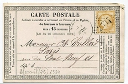 !!! CARTE PRECURSEUR CERES CACHET DE MOREUIL (SOMME) 1873