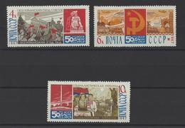 RUSSIE . YT 3305/3307 Neuf ** Cinquantenaire De La Révolution Soviétique D'Ukraine 1967