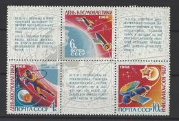 RUSSIE . YT 3351/3353 Neuf ** Journée De La Cosmonautique 1968