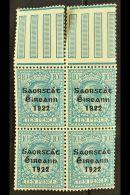 "1922-23 SAORSTAT  10d Turquoise-blue, SG 62, Upper Marginal Block Of Four, Showing Open ""C"" For ""O"" (Hib. T57c),..."
