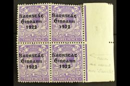 1922-23 SAORSTAT  3d Bluish Violet, Right Marginal Block Of Four, Showing NO ACCENT, SG 57a, Fresh Mint, Light...