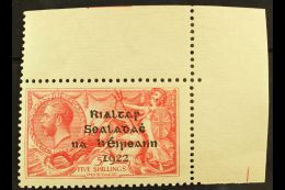 1922 DOLLARD SEAHORSE  5s Rose Carmine, SG 19, On Pseudo-laid Paper, Very Fine Mint Upper Right Corner Example,...