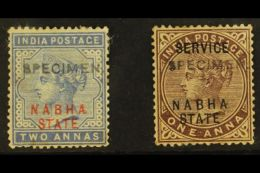"""NABHA  1885 Red Overprint 2a Dull Blue, Plus Official 1885 1a Brown-purple, Both With """"SPECIMEN"""" Handstamps, SG..."""