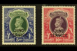 JIND  OFFICIAL 1942 KGVI 5R And 10R Top Values, SG O85/86, Very Fine Never Hinged Mint. (2 Stamps) For More...
