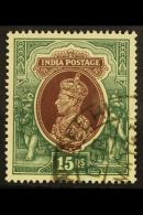 """1937-40  15r Brown & Green """"inverted Watermark"""" SG 263w, Very Fine Used For More Images, Please Visit..."""