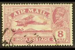 """1929  8a Purple Air Post With """"Reversed Serif"""" Variety, SG 224b, Fine Used With Light Cancel Clearly Showing This..."""